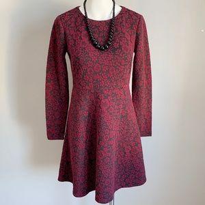 Loft Crimson Floral Jacquard Dress